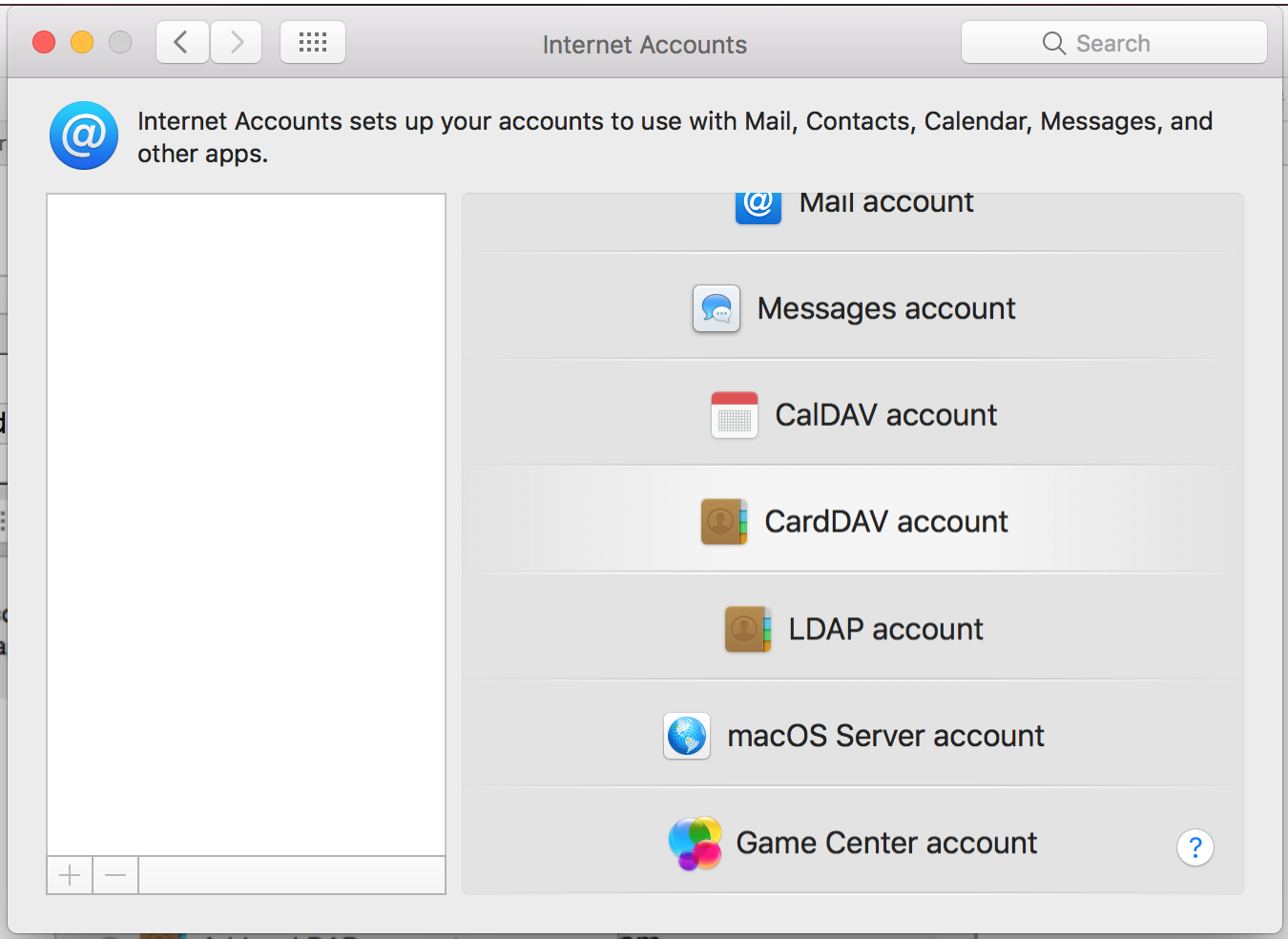 Mac OS X: Add contact service (CardDAV) in Contacts app